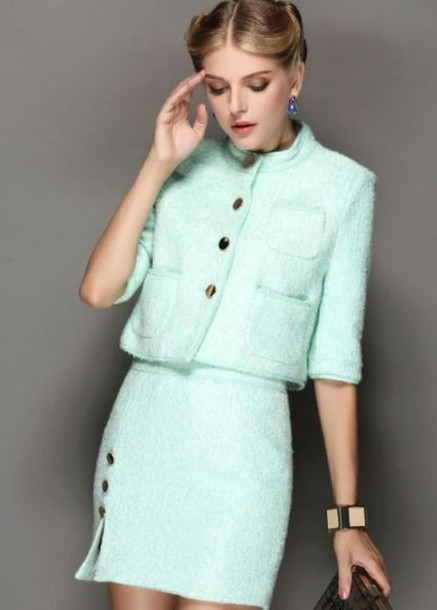Dress: mint dress, woolen suit, two piece dress set, half sleeves ...