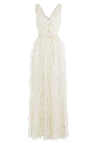 dress floor length dress glitter chiffon silk white