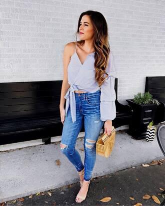 top tumblr blue top one shoulder asymmetrical asymmetrical top denim jeans blue jeans skinny jeans bag basket bag sandals sandal heels high heel sandals shoes