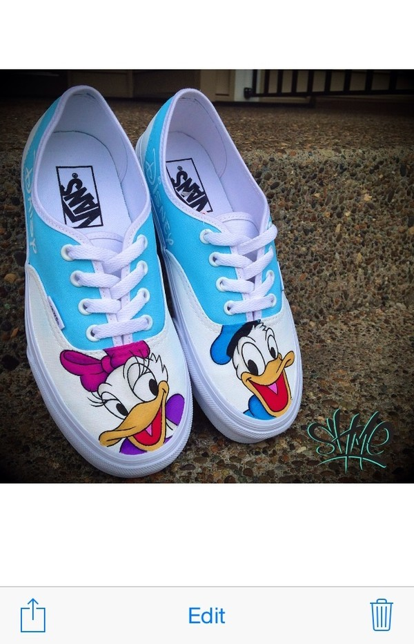 shoes vans vans of the wall disney disneyland disney donald duck donald duck custom shoes printed vans