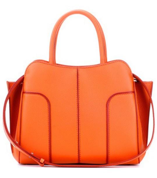 TOD'S bag shoulder bag leather orange