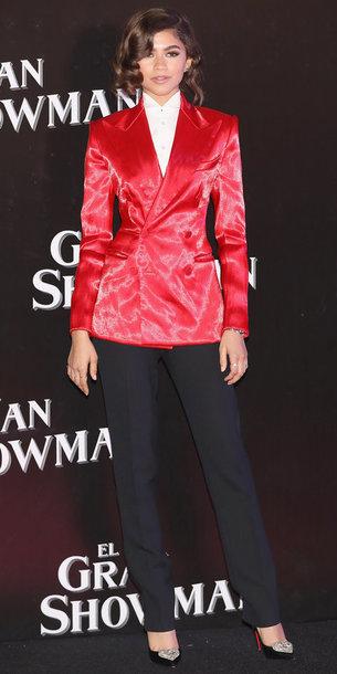 jacket red blazer pants zendaya suit pumps