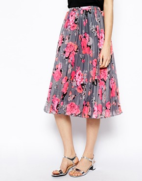 ASOS | ASOS Pleated Midi Skirt In Bright Floral Print at ASOS