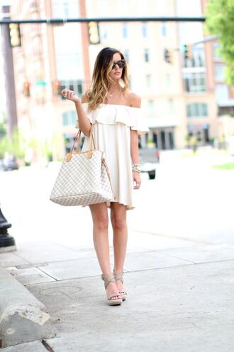 for all things lovely blogger shoes sunglasses off the shoulder white dress louis vuitton mini dress summer outfits summer dress