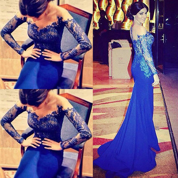 Aliexpress.com : buy robe de soiree 2015 royal blue chiffon evening dress illusion off the shoulder long sleeves mermaid evening party prom dresses from reliable prom dresses suppliers on 27 dress