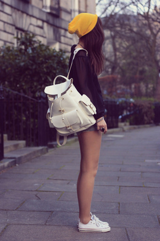 bag white backpack lether bag