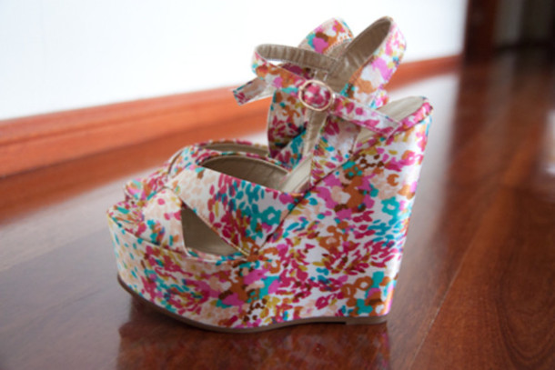 shoes heels wedges high heels floral flowers colorful colorful colorful rainbow buckles strappy strappy heels beautiful