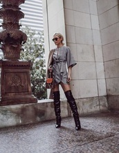 dress,grey dress,boots,black boots,wrap dress,asymmetrical,date outfit,over the knee boots,over the knee