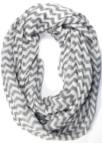 Gray and white chevron infinity scarf