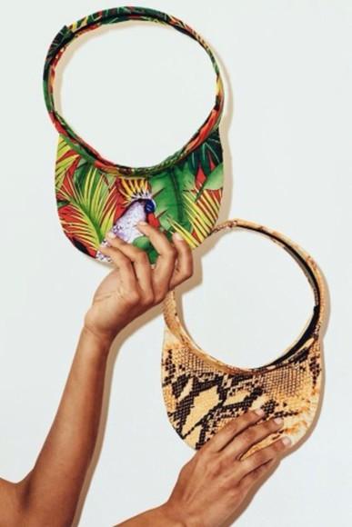 visor hat tropical tropical visor green blue orange yellow snake snake print snakeskin hat tumblr cute