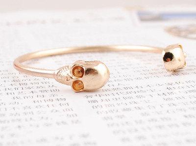 Gold skull bracelet by marcieannd on etsy