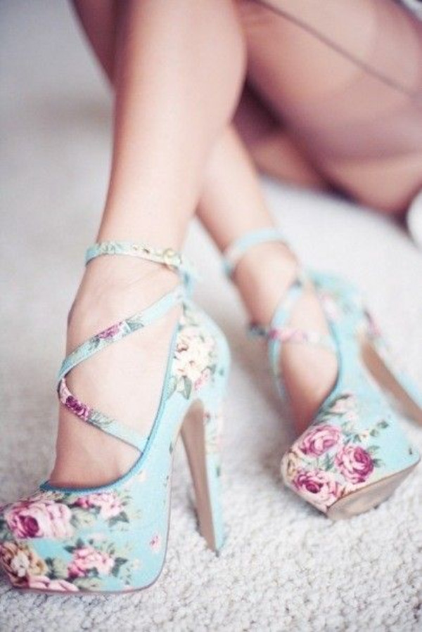 SHOES: BLUE FLORAL PUMPS HIGH HEELS HIGH LIGHT BLUE HIGH HEELS ...