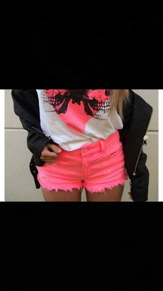 shorts pink girly neon casual