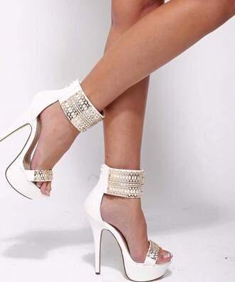shoes heels pumps white white heels