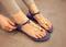 Navy mental strap flat lady sandals shoes