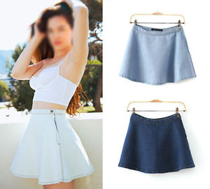 Women Vintage Classic High Waist Pleated Flared Circle Skater Denim Jeans Skirt | eBay