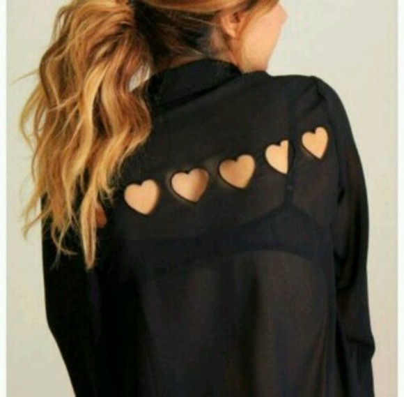 blouse black shirt heart blouse hearts black