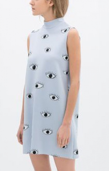 Eyes Printing Stand Collar Sleeveless Dress
