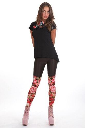 leggings floral floral leggings roses black leggings black flowers printed leggings