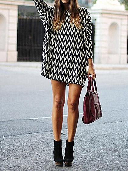 Wave striped chiffon loose shift dresses black & white