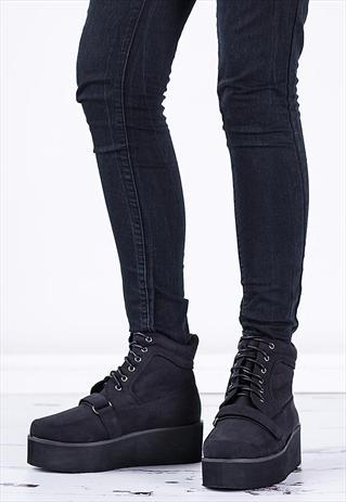 UPSLIDE Heeled Lace Up Platform Ankle Boots - Black Suede | Spy Love Buy | ASOS Marketplace