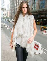 jacket,gray faux fur,grey faux fur,faux fur vest,faux fur waistcoat,vintage vest,vintage waistcoat,gray waistcoat,grey waistcoat,draped vest,draped waistcoat,www.ustrendy.com