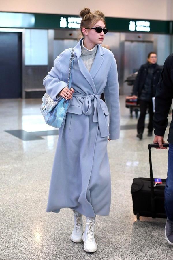 coat gigi hadid model off-duty turtleneck sweater casual