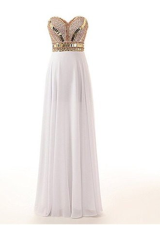 dress prom prom dress long long prom dress long white prom dress glitter studs gold and white dress gold and white prom dress sequence gold and white prom dressss