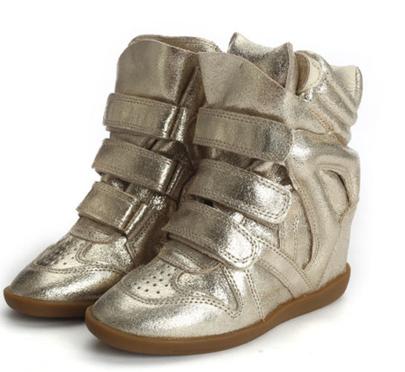 shoes sneakers isabel marant wila sneaker gold gold sneaker wedges