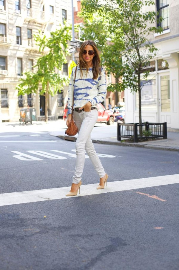 something navy sweater jeans shoes belt bag sunglasses