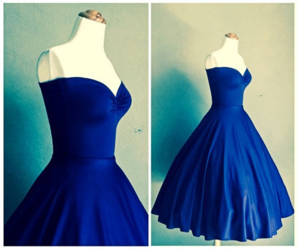 Dress: retro prom dress, retro cocktail dress, blue cocktail dress ...
