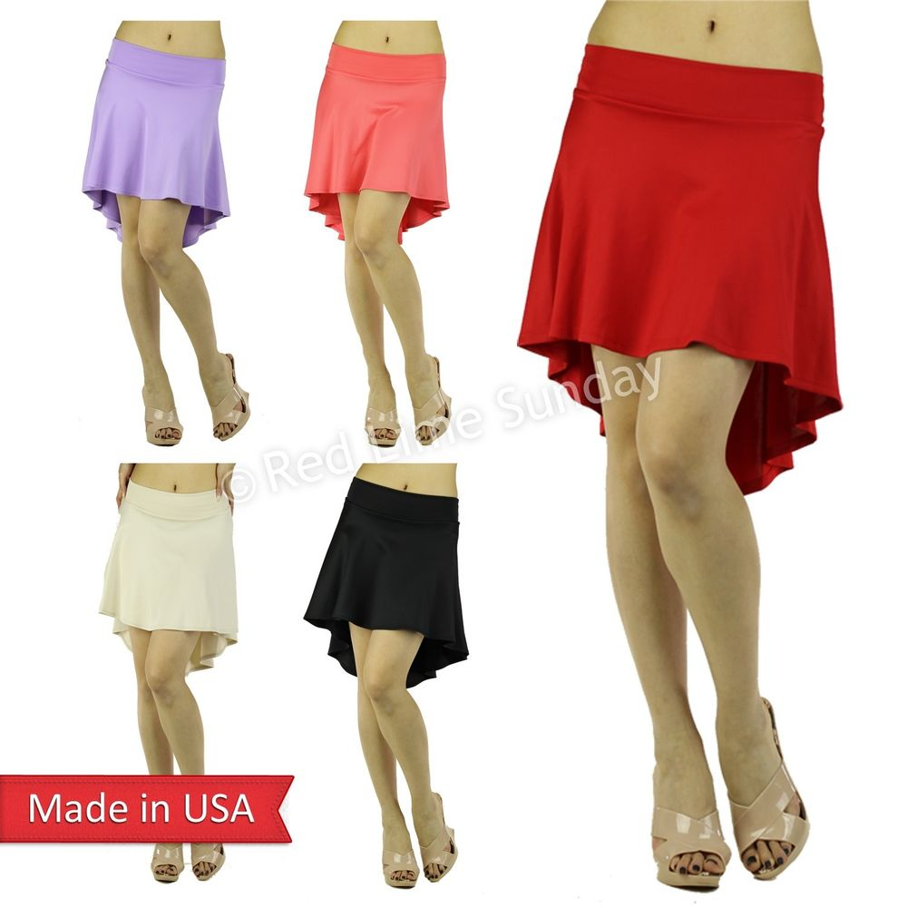 New Women Cute Hi Lo Mini Flare Draped Solid Color Skater Skirt Regular Plus USA