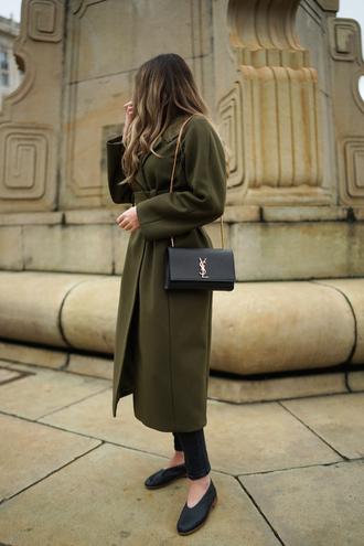 coat black bag black shoes tumblr green green coat long coat bag shoes