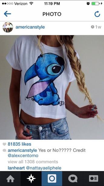 t-shirt lilo&stitch style cute shirt disney stitch blouse lilo & stitch shirt