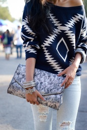 sweater,aztec,shirt,navajo,blue and white,tribal sweater,bag,blouse,navy,blue shirt,tribal pattern,pretty,blue,shoulder,blue white aztec,jeans,summer,white,long sleeves,dark,chevron,cardigan,ripped jeans,rolled up sleeves,diamonds,off the shoulder sweater,dark blue,baggy,skirt,blue aztec sweater,pattern,blue sweater,black,cute,fashion,patterned sweater
