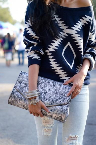 skirt aztec sweater shirt navajo tribal sweater blouse navyblue bag dark blue aztec oversized