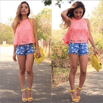 bag print top summer outfits t-shirt denim shorts style bustier bra bralette yellow lace up crochet hot classy streetwear streetstyle high heels platform shoes daisy floral high waisted shorts skinny shorts corset beach lipstick make-up