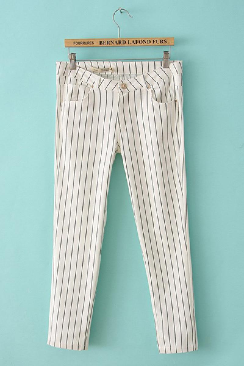 New Vertical Stripes Stretch Casual Pants,Cheap in Wendybox.com