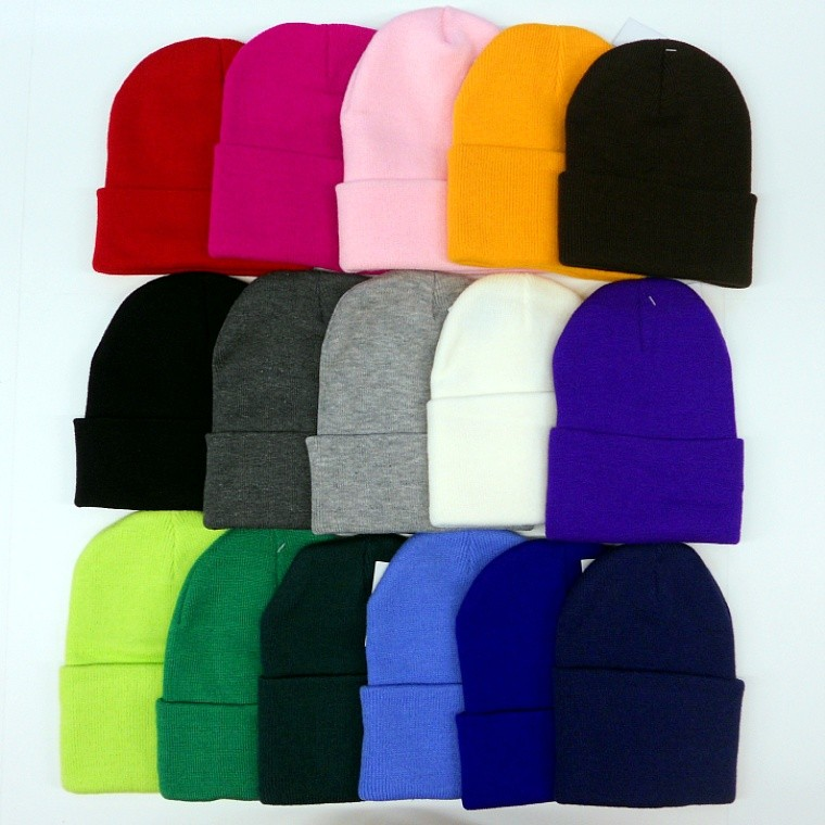 Unisex Beanie Solid Color Warm Plain Acrylic Knit Ski Beanie Skull Hat 16 Colors | eBay
