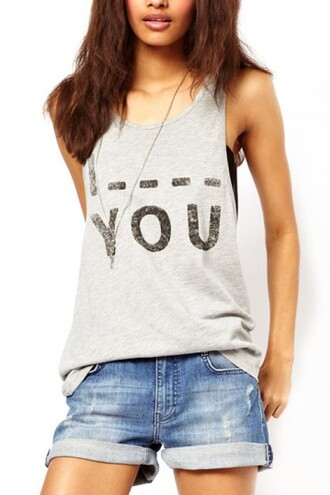 grey t-shirt grey t-shirt quote on it vest i blank you i love you shirt tank top