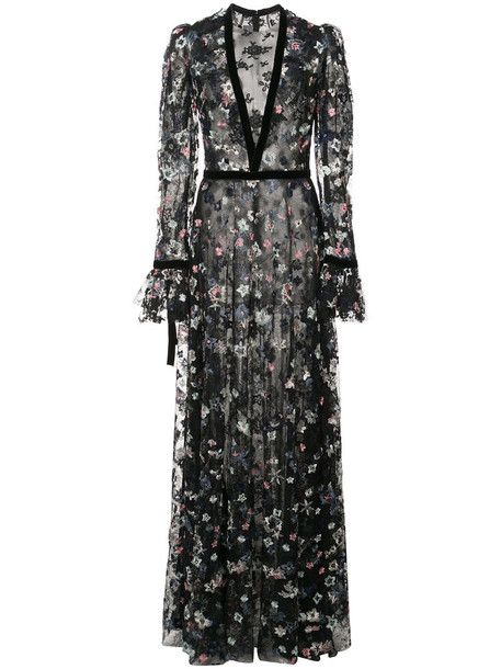Monique Lhuillier dress embroidered dress long embroidered women black silk