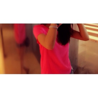 shirt neon pink t-shirt neon pink solid