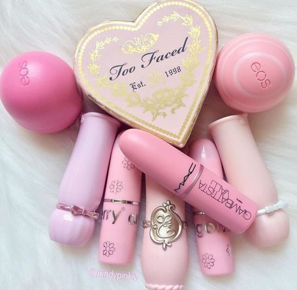 make-up mac cosmetics pink eos lip balm face care heart girly wishlist all pink wishlist pink lipstick