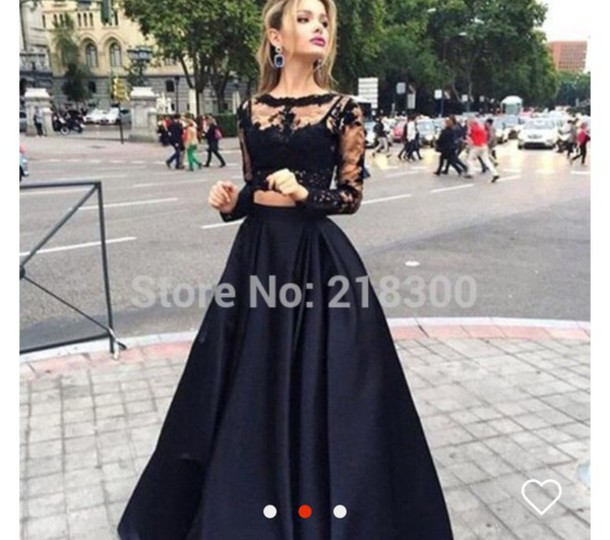 367149a5173a7 dress black dress two piece dress set prom dress prom skirt silky navy lace  top black