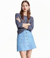skirt,suede skirt,blue skirt,light blue,button up skirt,blue suede skirt