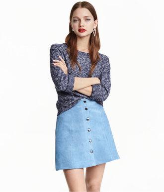 skirt suede skirt blue skirt light blue button up skirt