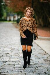 something delightful,blogger,skirt,shoes,bag,jewels,sweater,animal print,knee high boots,animal print sweater,fall outfits