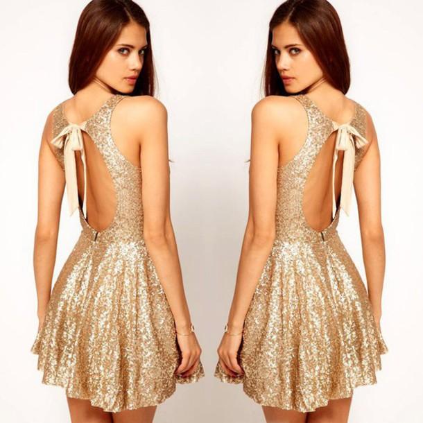 274487f306cd dress backless backless dress mini dress skater dress gold skater dress  sequin dress sequins fashion fashionista