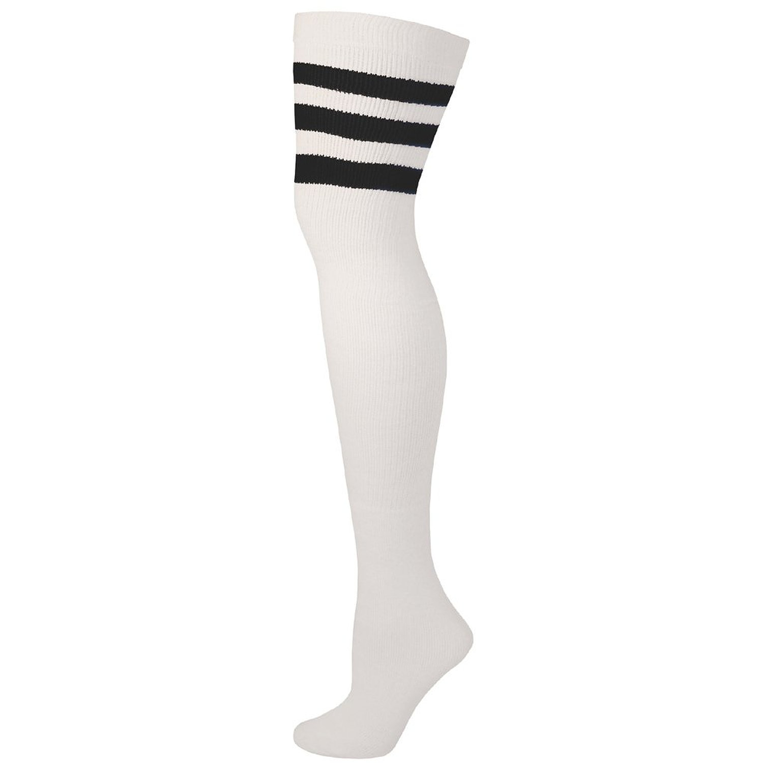2ab45cd89fe Amazon.com  AJs Retro Thigh High Tube Socks - White