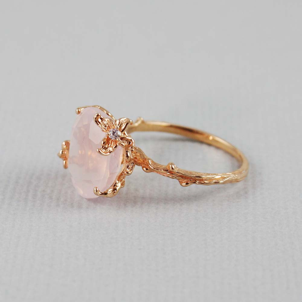 Pink Gold Oval Rose Quartz Ring - gemstone ring, pink gold ring, sterling silver ring, pink quartz ring, valentine's gift